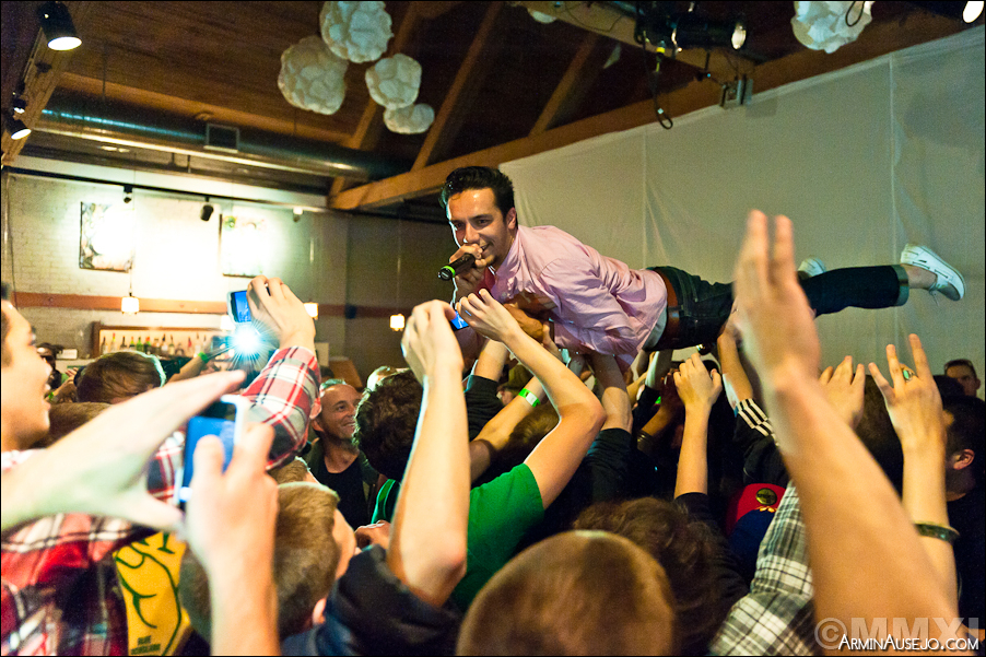 Sabzi crowd surfing
