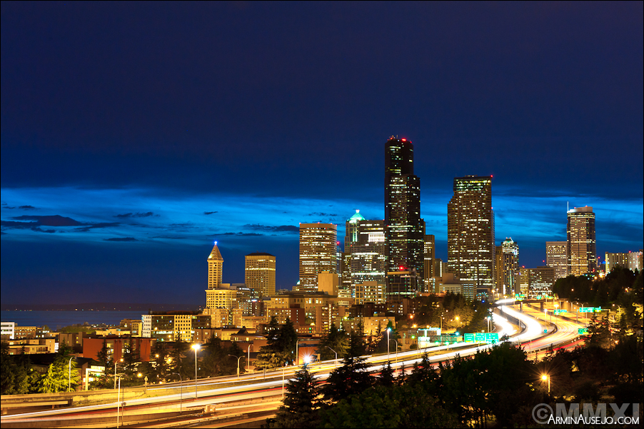 Seattle at night from Jose Rizal Bridge