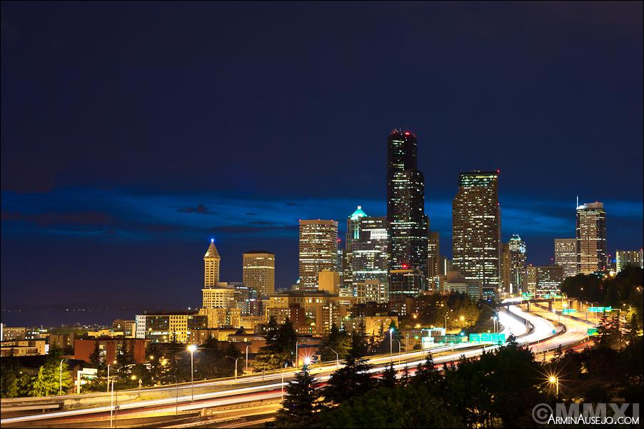 Seattle at night from Jose Rizal Bridge