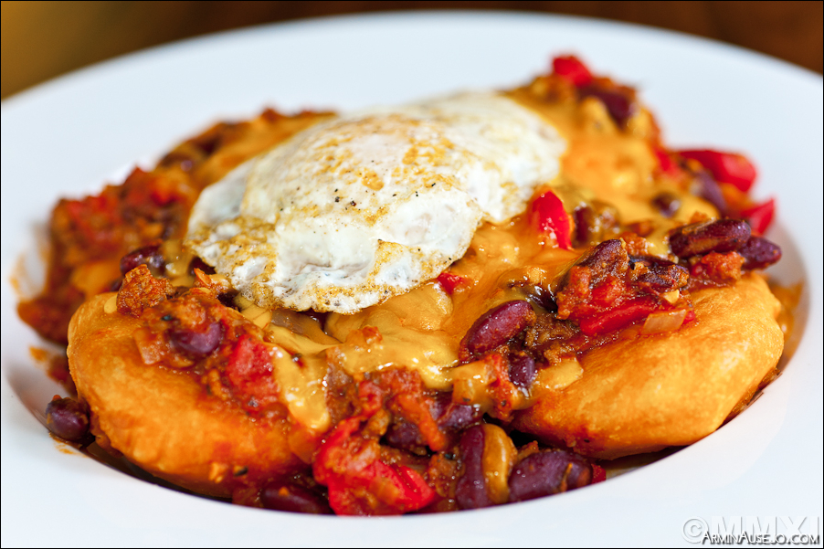 Fry Bread, Chili, Cheese and Fried Egg from Cheeky Cafe